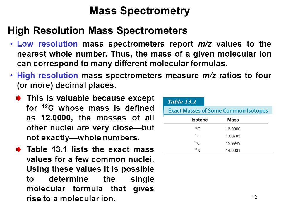 12 Mass Spectrometry High Resolution Mass Spectrometers Low resolution mass spectrometers report m/z values to the nearest whole number.
