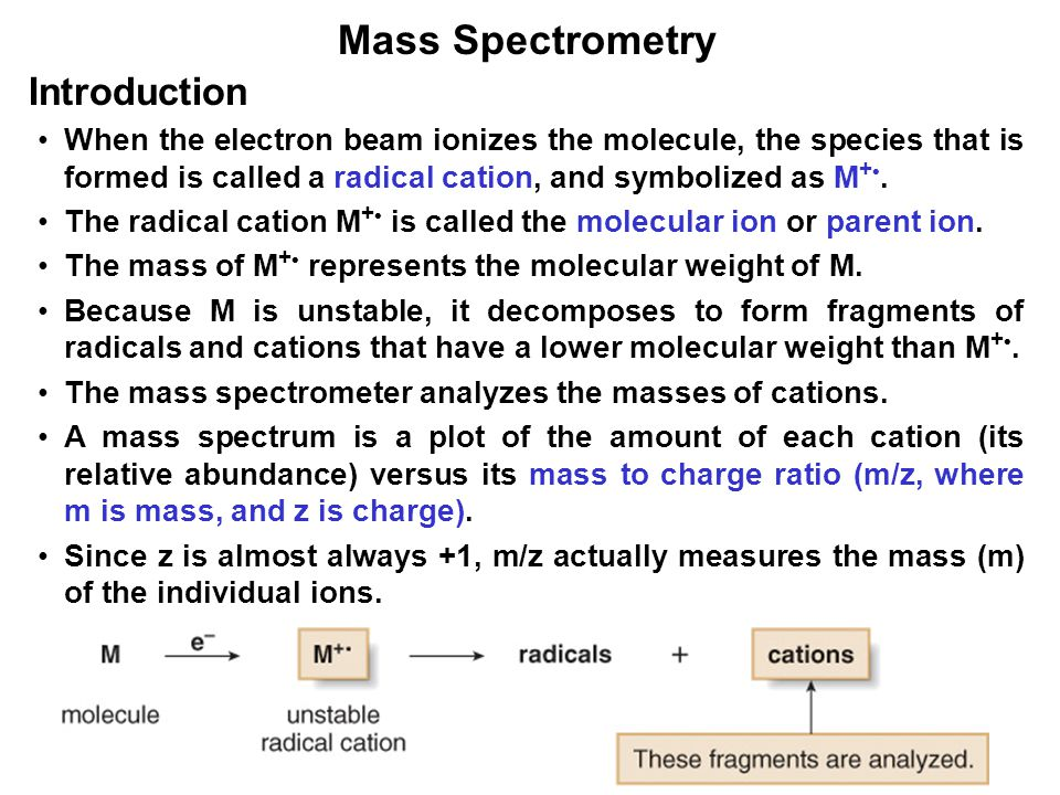 4 Mass Spectrometry When the electron beam ionizes the molecule, the species that is formed is called a radical cation, and symbolized as M +.