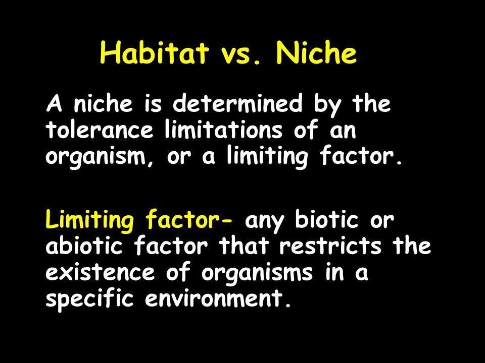 Habitat vs. Niche A niche is determined by the tolerance limitations of an organism, or a limiting factor. Limiting factor- any biotic or abiotic fact
