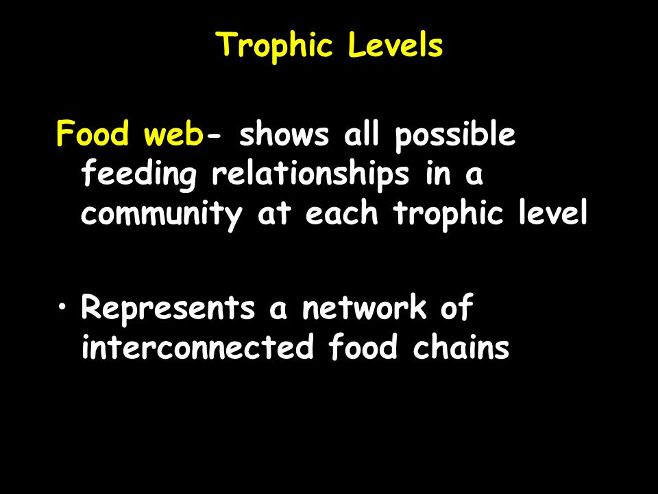 Trophic Levels Food web- shows all possible feeding relationships in a community at each trophic level Represents a network of interconnected food cha