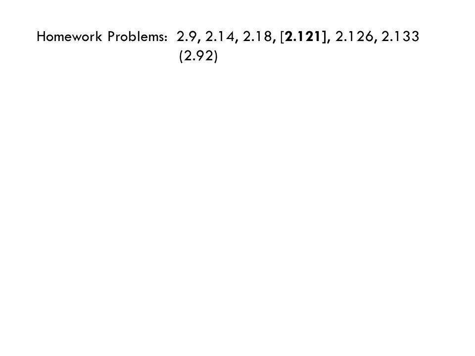 Homework Problems: 2.9, 2.14, 2.18, [2.121], 2.126, 2.133 (2.92)