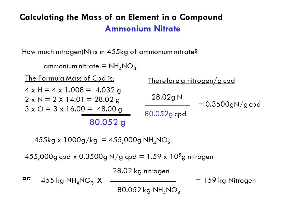 Calculating the Mass of an Element in a Compound Ammonium Nitrate ammonium nitrate = NH 4 NO 3 How much nitrogen(N) is in 455kg of ammonium nitrate.