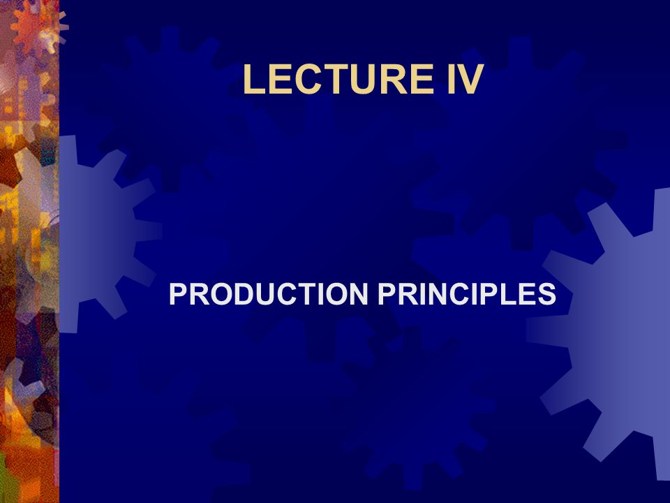 LECTURE IV PRODUCTION PRINCIPLES