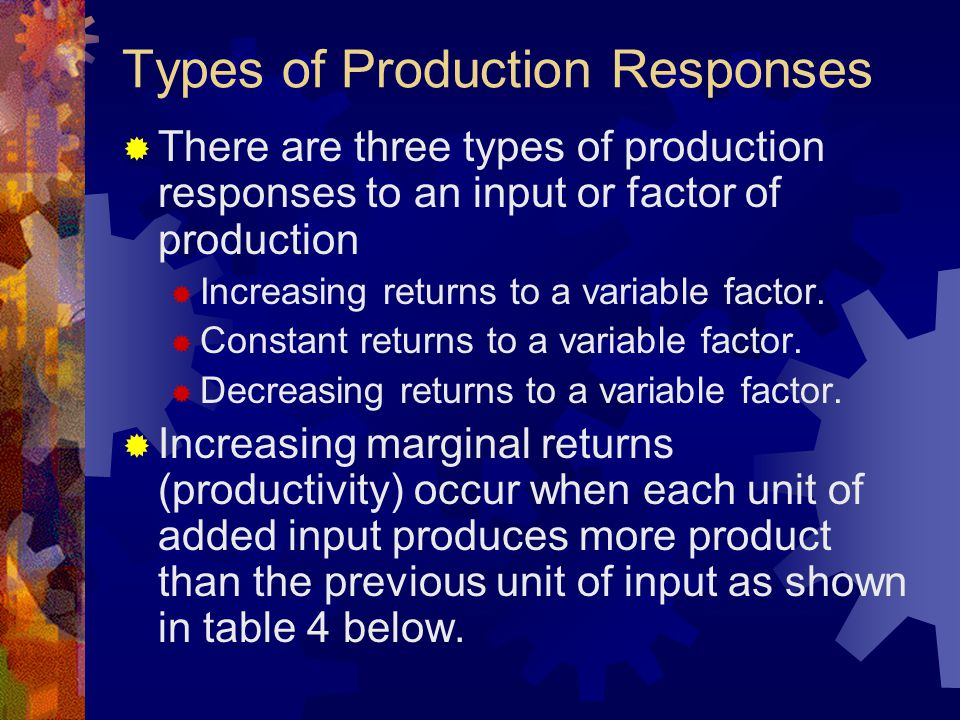 Types of Production Responses  There are three types of production responses to an input or factor of production  Increasing returns to a variable factor.