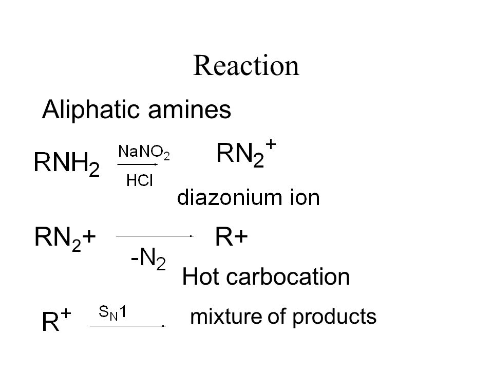 Reaction of Primary Amines with HNO 2 Preparation of HNO 2 NaNO 2 + HCl HNO 2 NaCl +