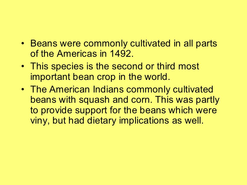 Beans were commonly cultivated in all parts of the Americas in 1492.