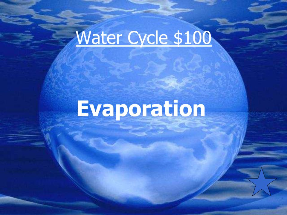 Water Cycle $100 By what process does water in lakes and oceans enter the atmosphere?