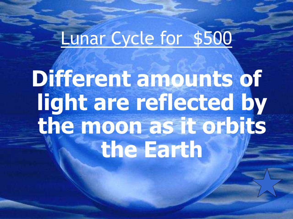 Lunar Cycle for $500 What causes the lunar cycle