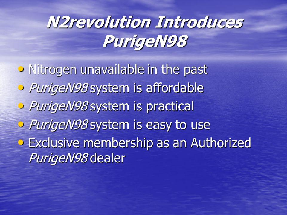 N2revolution Introduces PurigeN98 Nitrogen unavailable in the past Nitrogen unavailable in the past PurigeN98 system is affordable PurigeN98 system is affordable PurigeN98 system is practical PurigeN98 system is practical PurigeN98 system is easy to use PurigeN98 system is easy to use Exclusive membership as an Authorized PurigeN98 dealer Exclusive membership as an Authorized PurigeN98 dealer