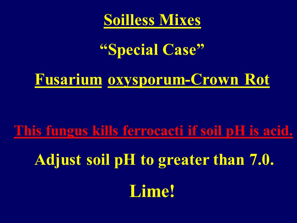 Soilless Mixes Adjust up, increase pH using lime. Calcium carbonate Calcium/Magnesium carbonate (Dolomitic lime)