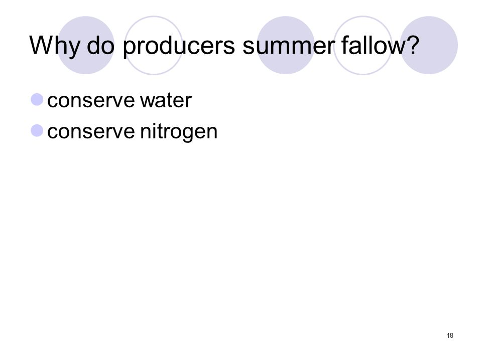 18 Why do producers summer fallow? conserve water conserve nitrogen