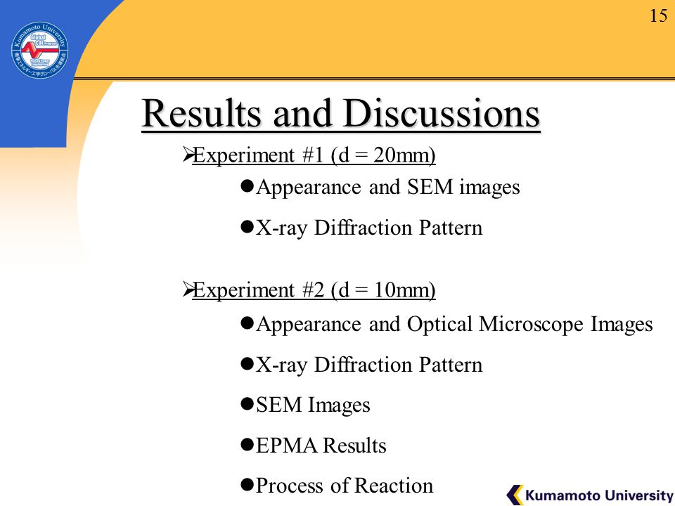 15 Results and Discussions Results and Discussions  Experiment #1 (d = 20mm)  Experiment #2 (d = 10mm) 15 Appearance and SEM images X-ray Diffraction Pattern Appearance and Optical Microscope Images X-ray Diffraction Pattern SEM Images EPMA Results Process of Reaction