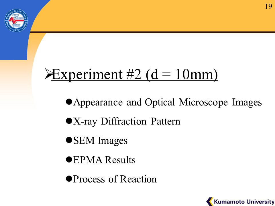 19  Experiment #2 (d = 10mm) Appearance and Optical Microscope Images X-ray Diffraction Pattern SEM Images EPMA Results Process of Reaction