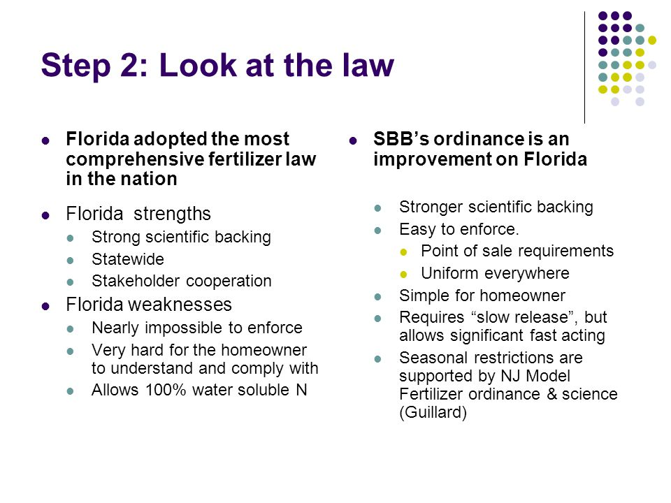 Step 2: Look at the law Florida adopted the most comprehensive fertilizer law in the nation Florida strengths Strong scientific backing Statewide Stakeholder cooperation Florida weaknesses Nearly impossible to enforce Very hard for the homeowner to understand and comply with Allows 100% water soluble N SBB's ordinance is an improvement on Florida Stronger scientific backing Easy to enforce.