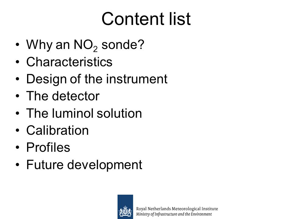 Content list Why an NO 2 sonde.
