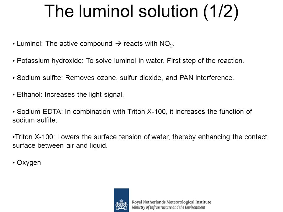 The luminol solution (1/2) Luminol: The active compound  reacts with NO 2.