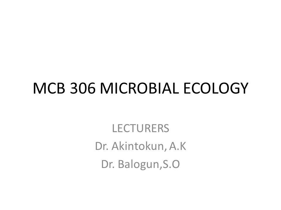 MCB 306 MICROBIAL ECOLOGY LECTURERS Dr. Akintokun, A.K Dr. Balogun,S.O