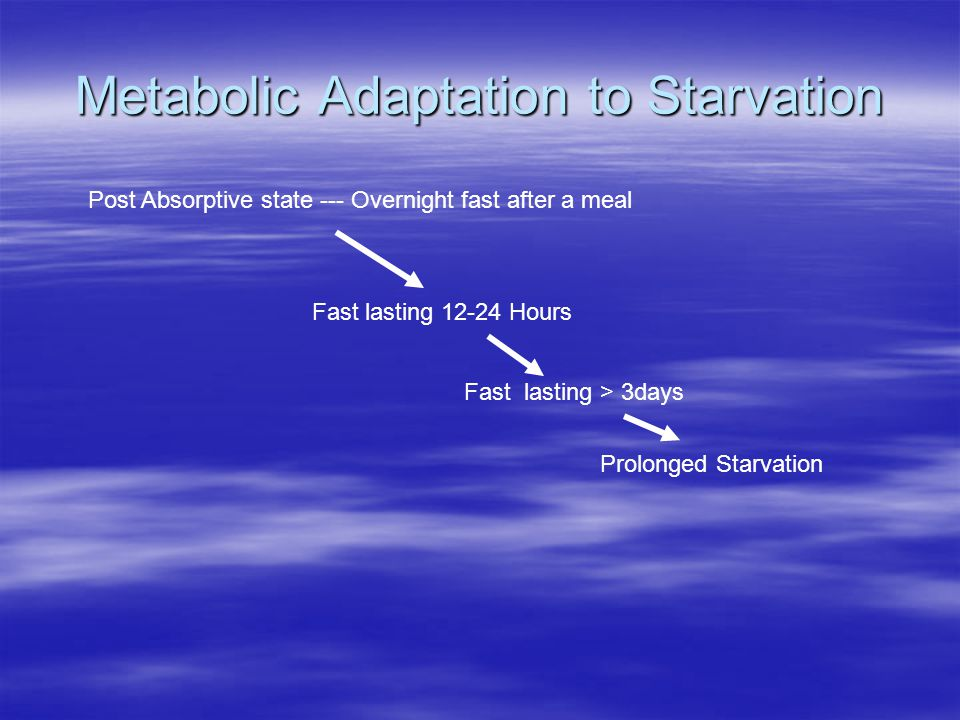 Metabolic Adaptation to Starvation Post Absorptive state --- Overnight fast after a meal Fast lasting 12-24 Hours Fast lasting > 3days Prolonged Starv