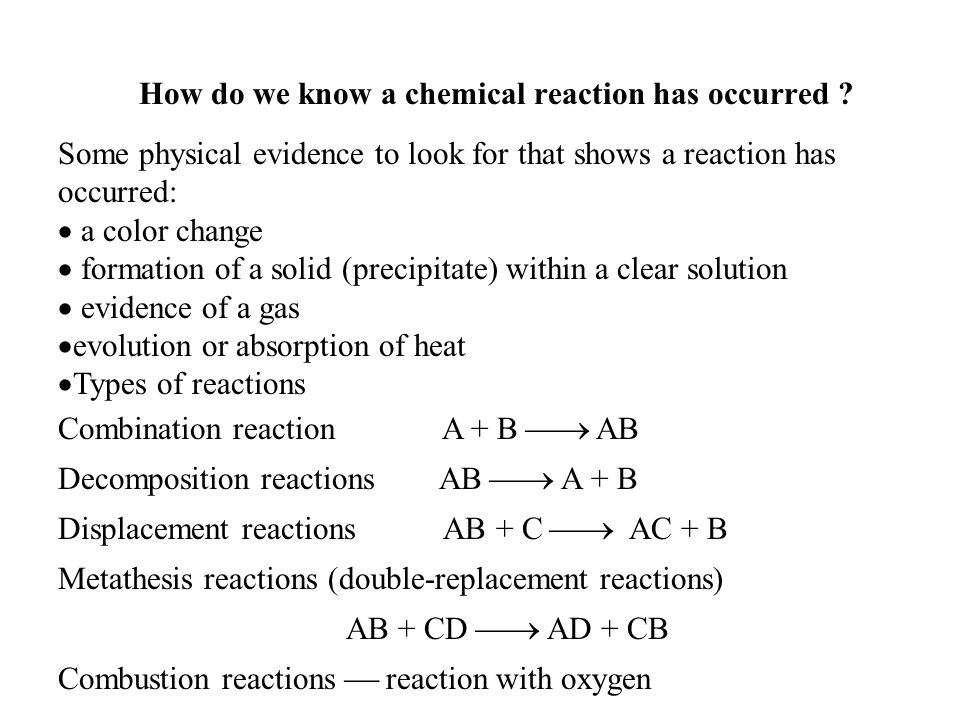 How do we know a chemical reaction has occurred .