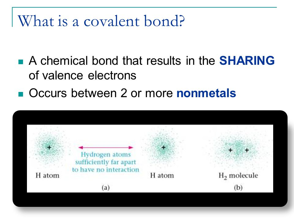 What is a covalent bond? A chemical bond that results in the SHARING of valence electrons Occurs between 2 or more nonmetals