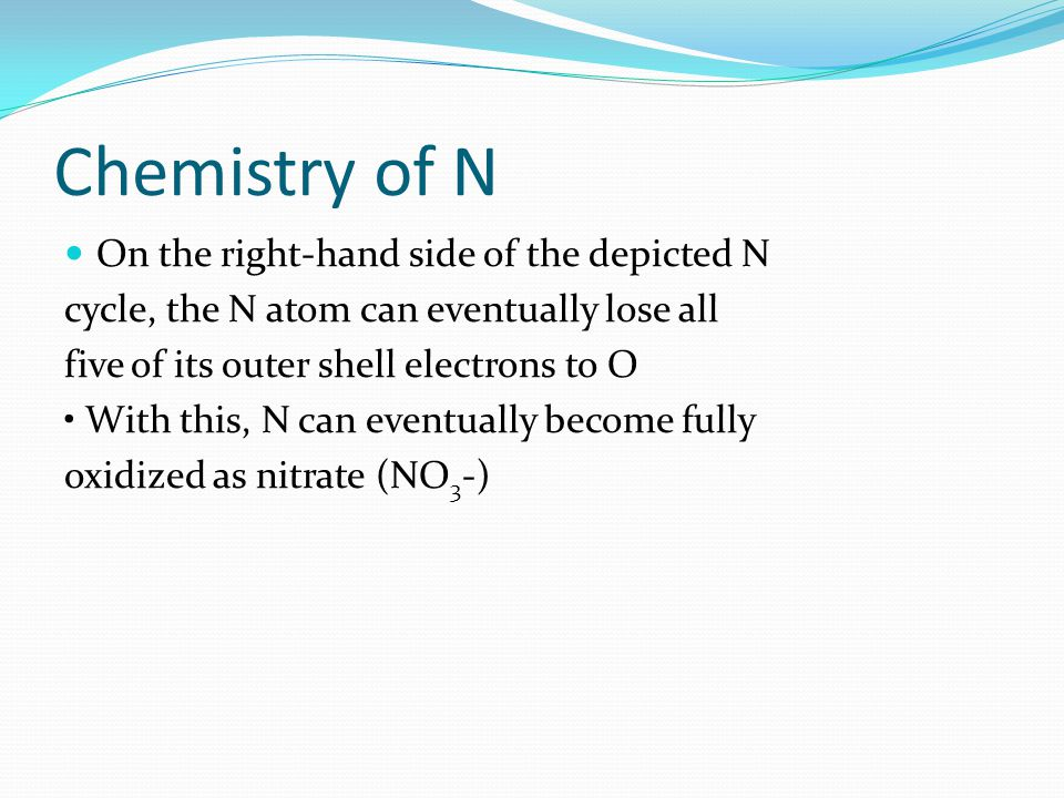 Chemistry of N On the right-hand side of the depicted N cycle, the N atom can eventually lose all five of its outer shell electrons to O With this, N