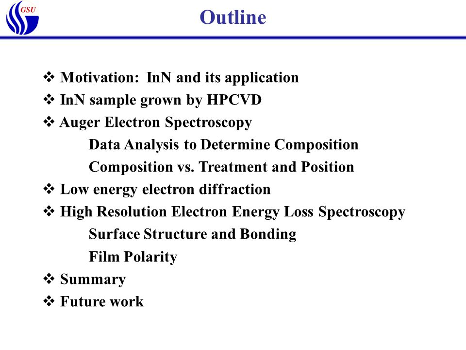  Motivation: InN and its application  InN sample grown by HPCVD  Auger Electron Spectroscopy Data Analysis to Determine Composition Composition vs.