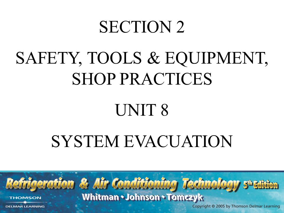 UNIT OBJECTIVES After studying this unit, the reader should be able to Describe a standing pressure test List various types of leak detectors Explain the purpose of system evacuation Describe the vacuum pump Explain how to evacuate a refrigeration system Explain how to measure a vacuum
