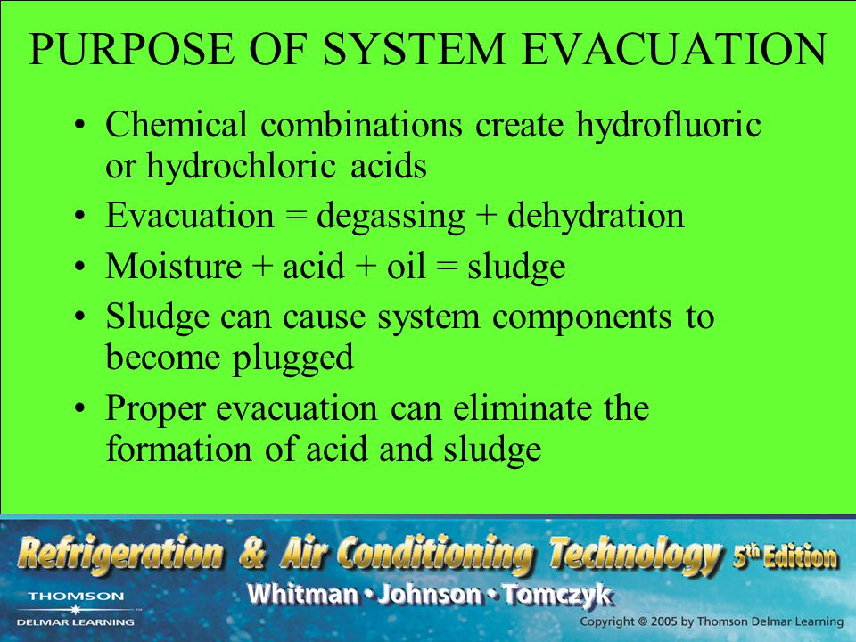 PURPOSE OF SYSTEM EVACUATION Chemical combinations create hydrofluoric or hydrochloric acids Evacuation = degassing + dehydration Moisture + acid + oi