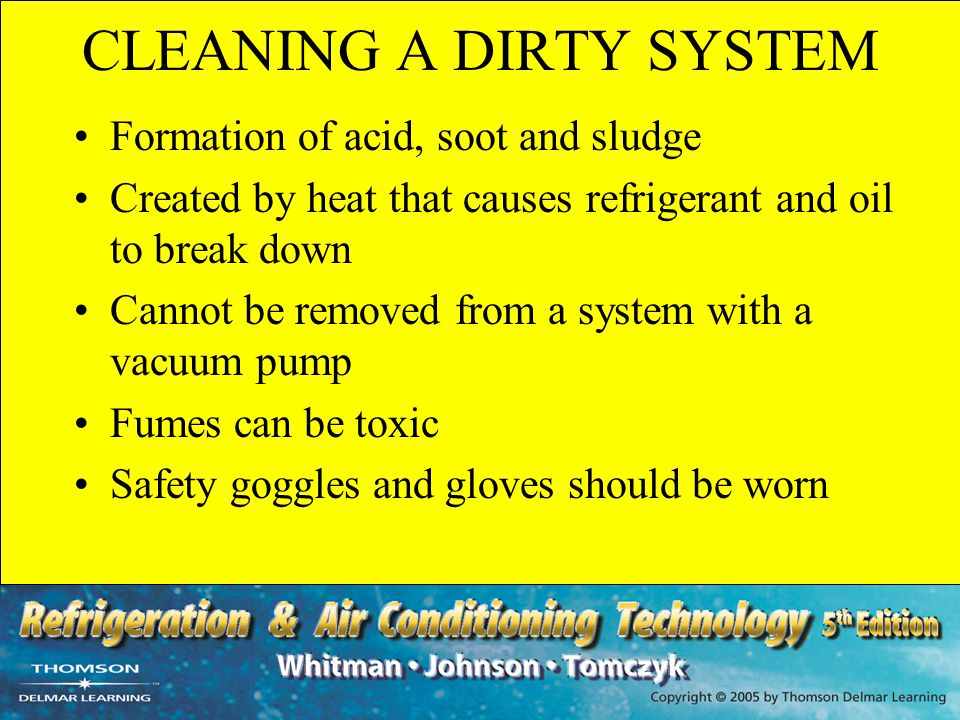 CLEANING A DIRTY SYSTEM Formation of acid, soot and sludge Created by heat that causes refrigerant and oil to break down Cannot be removed from a syst