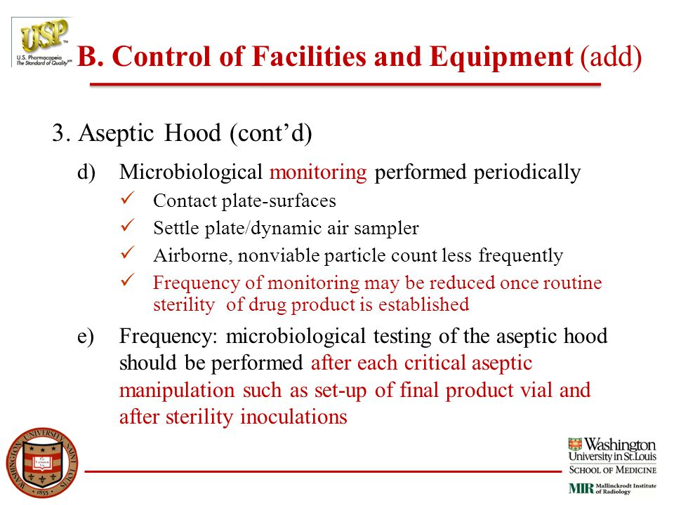 B. Control of Facilities and Equipment (add) 3.