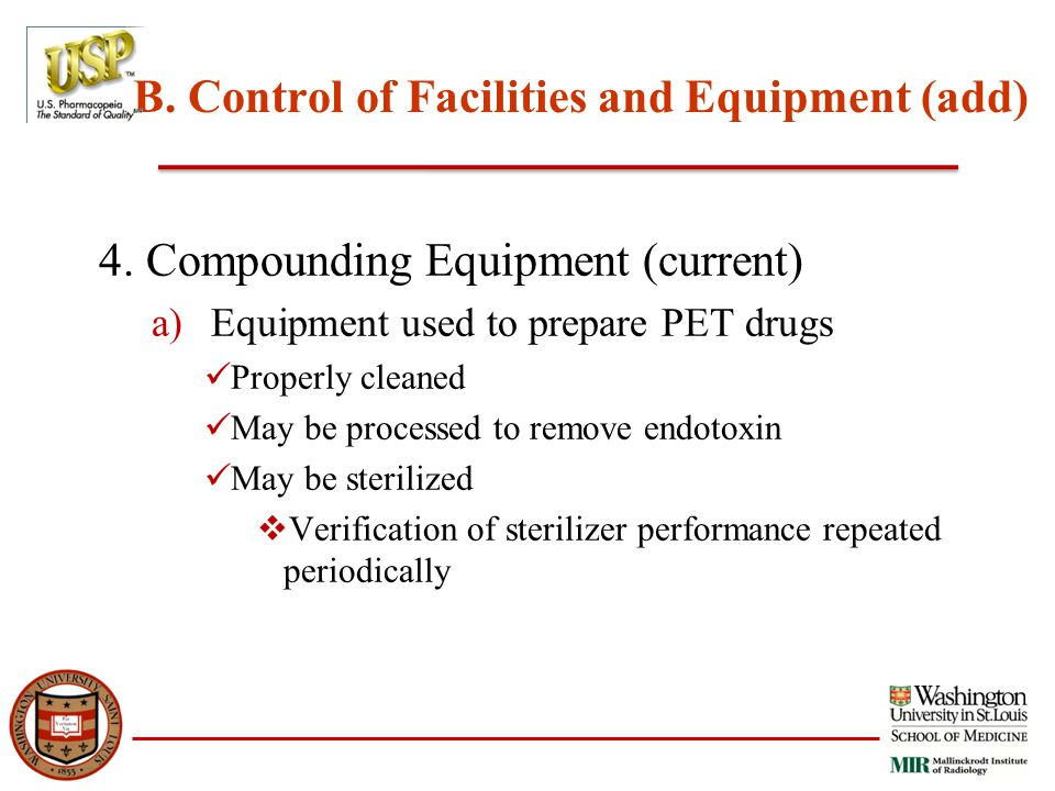 B. Control of Facilities and Equipment (add) 4.