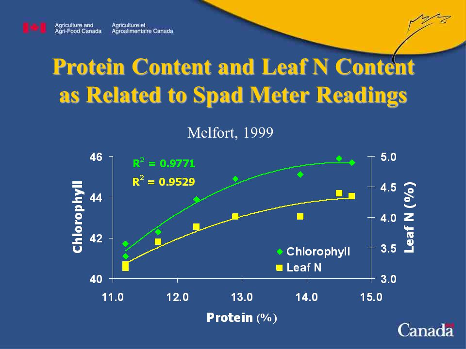 Protein Content and Leaf N Content as Related to Spad Meter Readings Melfort, 1999