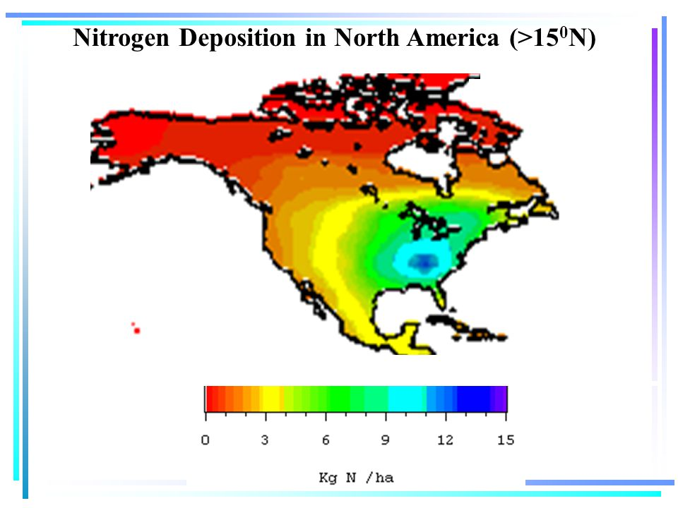 Nitrogen Deposition in North America (>15 0 N)
