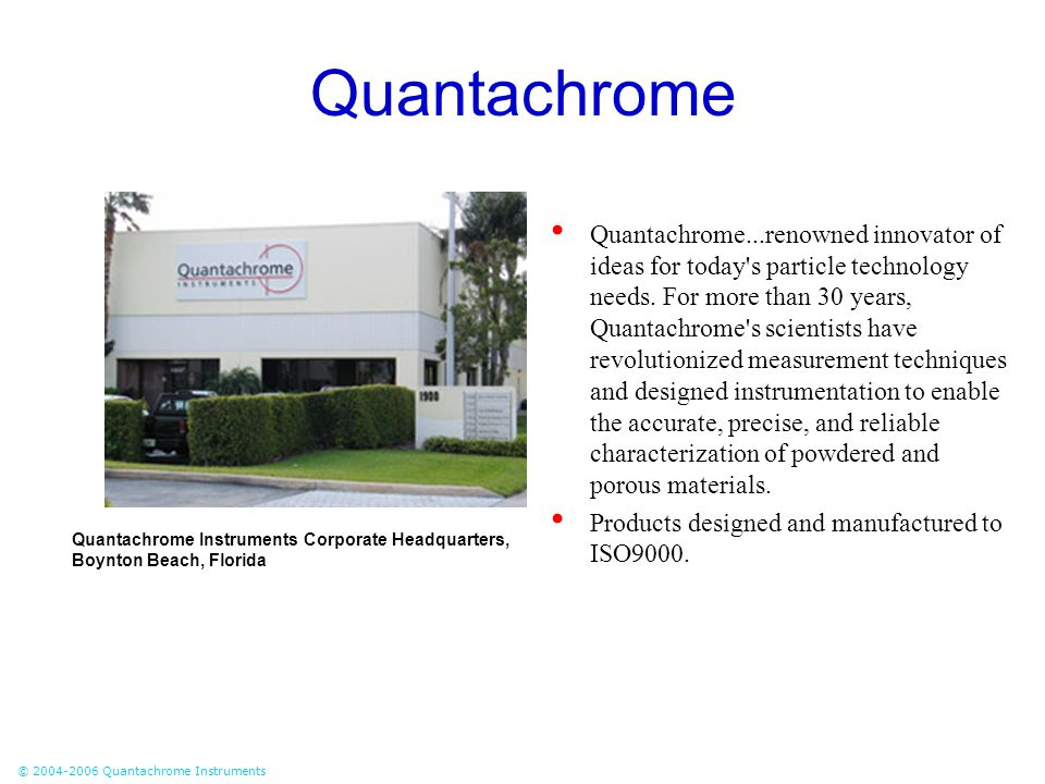 © 2004-2006 Quantachrome Instruments Quantachrome Quantachrome...renowned innovator of ideas for today's particle technology needs. For more than 30 y