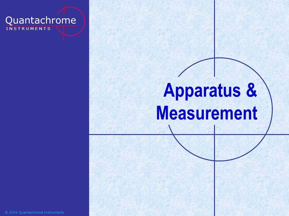 © 2004-2006 Quantachrome Instruments Apparatus & Measurement Quantachrome I N S T R U M E N T S © 2004 Quantachrome Instruments