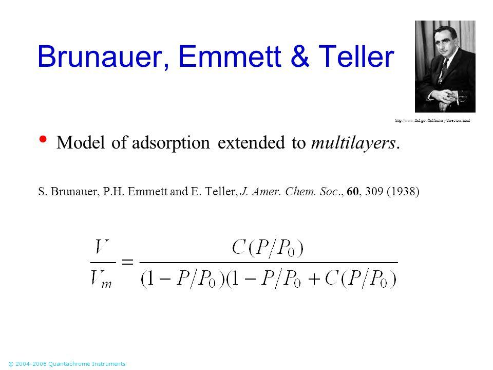 © 2004-2006 Quantachrome Instruments Brunauer, Emmett & Teller Model of adsorption extended to multilayers. S. Brunauer, P.H. Emmett and E. Teller, J.