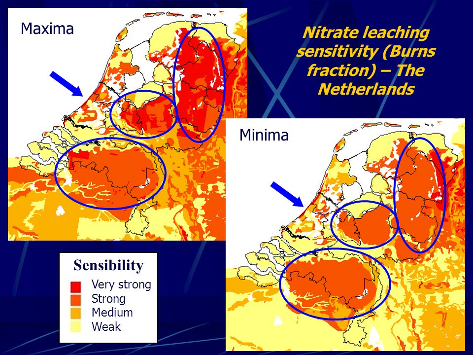 Nitrate leaching sensitivity (Burns fraction) – The Netherlands Minima Maxima Very strong Strong Medium Weak Sensibility
