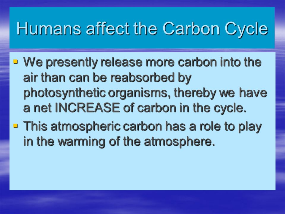  We presently release more carbon into the air than can be reabsorbed by photosynthetic organisms, thereby we have a net INCREASE of carbon in the cy