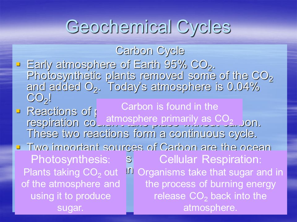Geochemical Cycles Carbon Cycle  Early atmosphere of Earth 95% CO 2. Photosynthetic plants removed some of the CO 2 and added O 2. Today's atmosphere