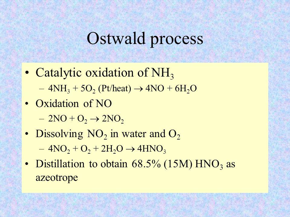 Ostwald process Catalytic oxidation of NH 3 –4NH 3 + 5O 2 (Pt/heat)  4NO + 6H 2 O Oxidation of NO –2NO + O 2  2NO 2 Dissolving NO 2 in water and O 2 –4NO 2 + O 2 + 2H 2 O  4HNO 3 Distillation to obtain 68.5% (15M) HNO 3 as azeotrope