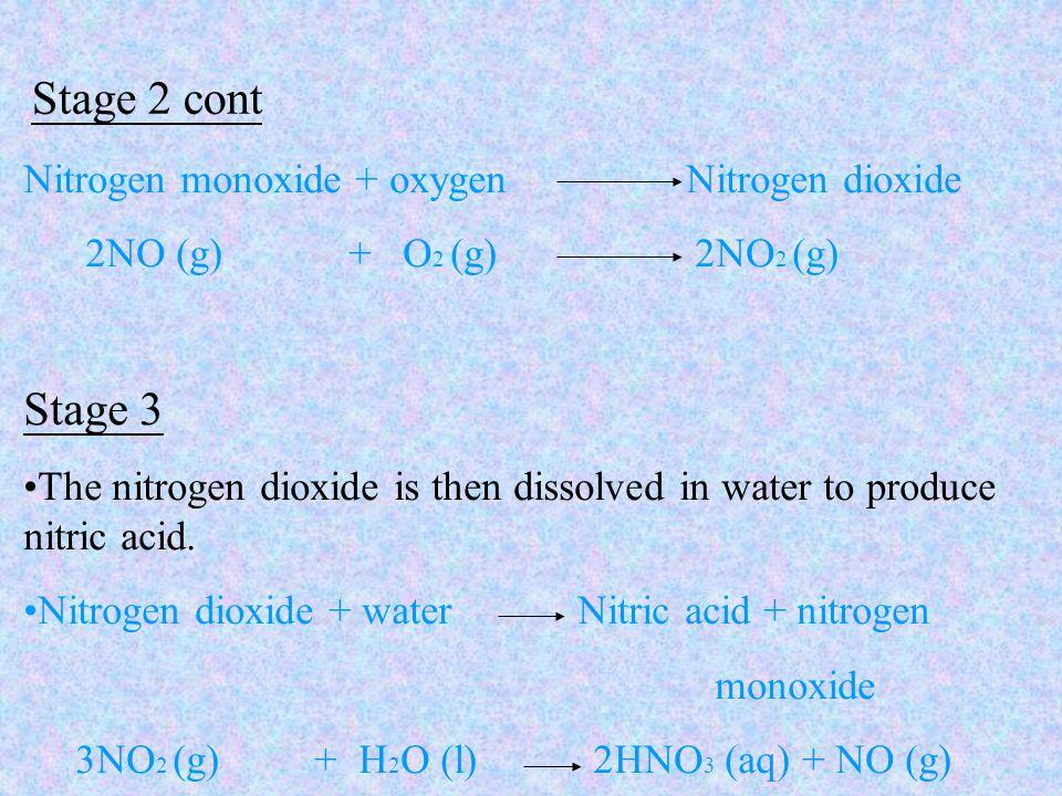 Stage 2 cont Nitrogen monoxide + oxygen Nitrogen dioxide 2NO (g) + O 2 (g) 2NO 2 (g) Stage 3 The nitrogen dioxide is then dissolved in water to produce nitric acid.