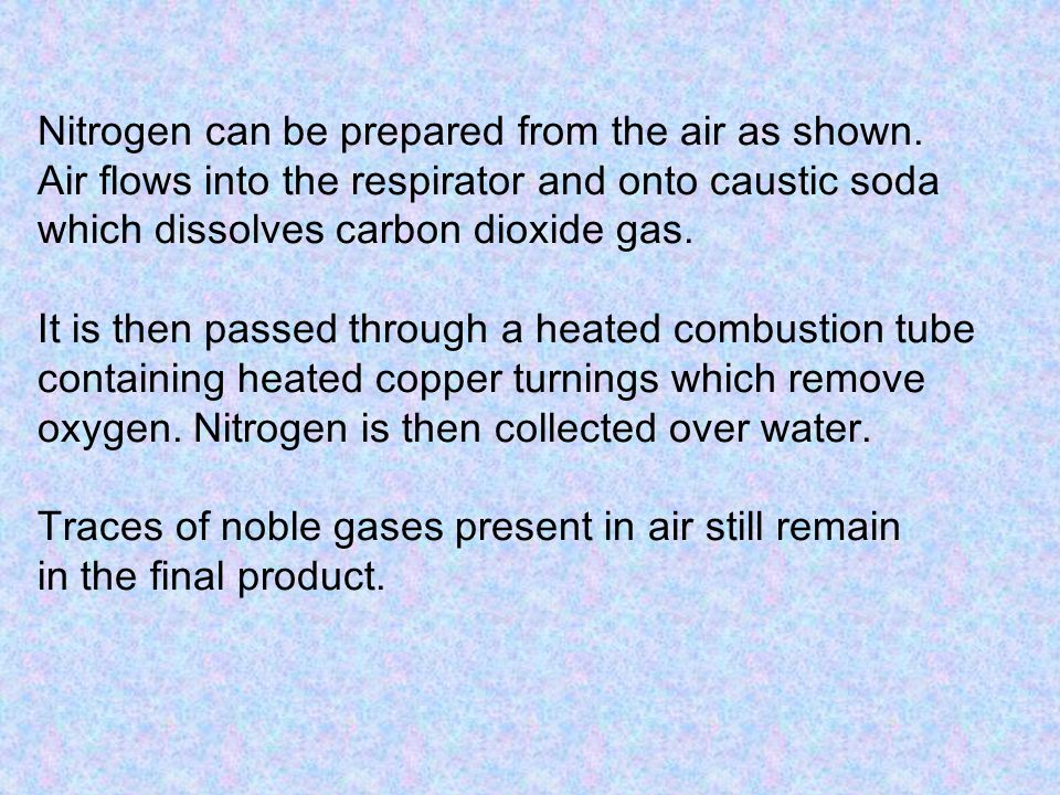 Nitrogen can be prepared from the air as shown.