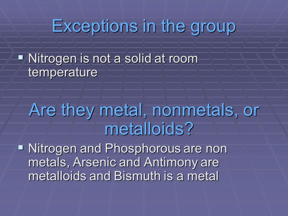 Exceptions in the group  Nitrogen is not a solid at room temperature Are they metal, nonmetals, or metalloids.