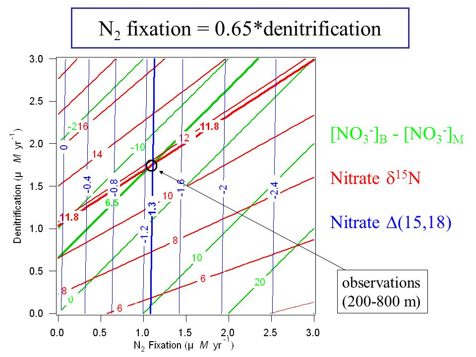 N 2 fixation = 0.65*denitrification [NO 3 - ] B - [NO 3 - ] M Nitrate  15 N Nitrate  (15,18) observations (200-800 m)