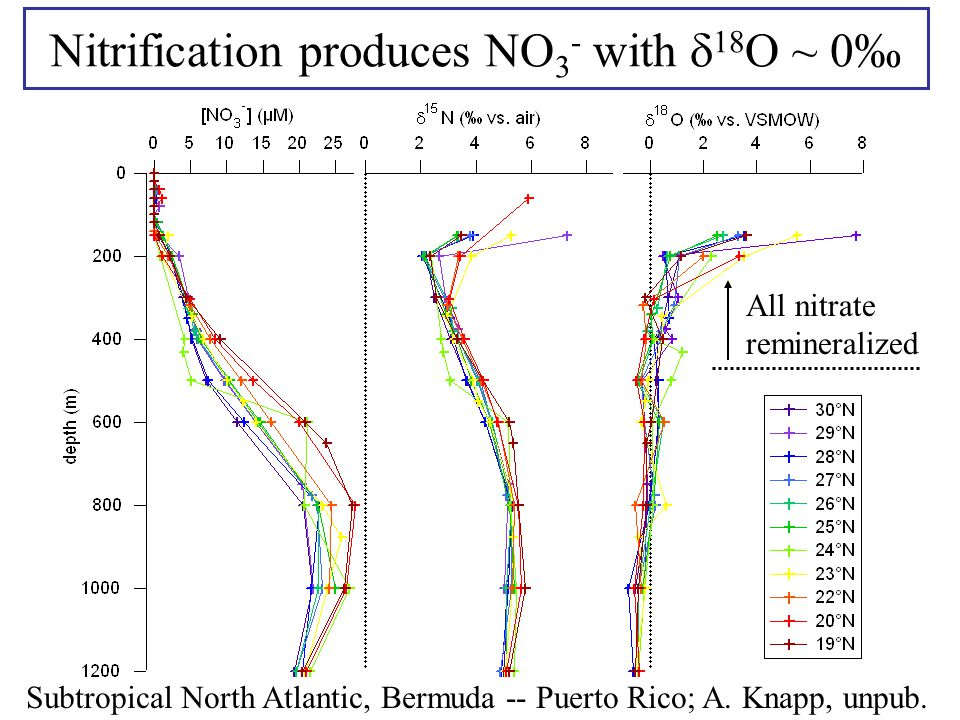 Nitrification produces NO 3 - with  18 O ~ 0‰ Subtropical North Atlantic, Bermuda -- Puerto Rico; A. Knapp, unpub. All nitrate remineralized