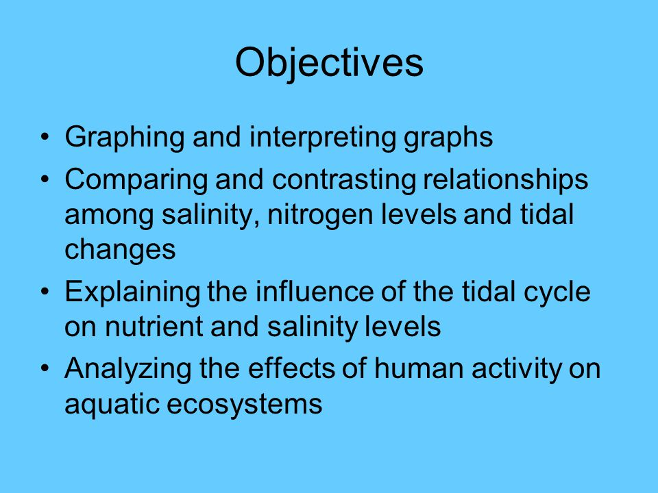 Objectives Graphing and interpreting graphs Comparing and contrasting relationships among salinity, nitrogen levels and tidal changes Explaining the influence of the tidal cycle on nutrient and salinity levels Analyzing the effects of human activity on aquatic ecosystems