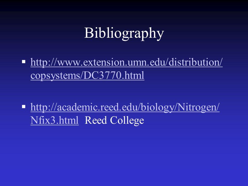 Bibliography  http://www.extension.umn.edu/distribution/ copsystems/DC3770.html http://www.extension.umn.edu/distribution/ copsystems/DC3770.html  http://academic.reed.edu/biology/Nitrogen/ Nfix3.html Reed College http://academic.reed.edu/biology/Nitrogen/ Nfix3.html