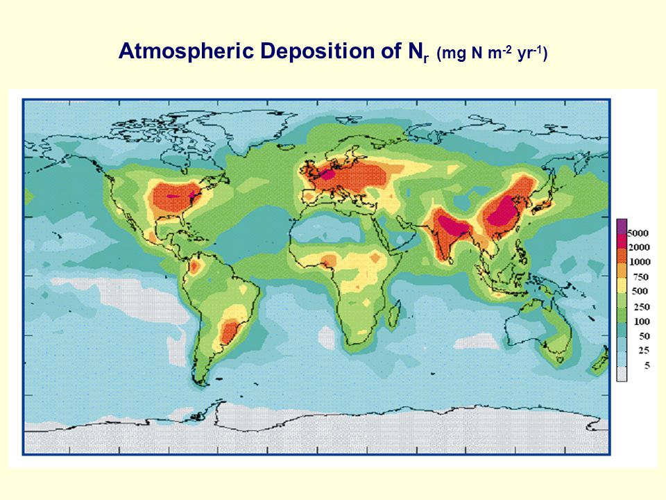 Atmospheric Deposition of N r (mg N m -2 yr -1 )