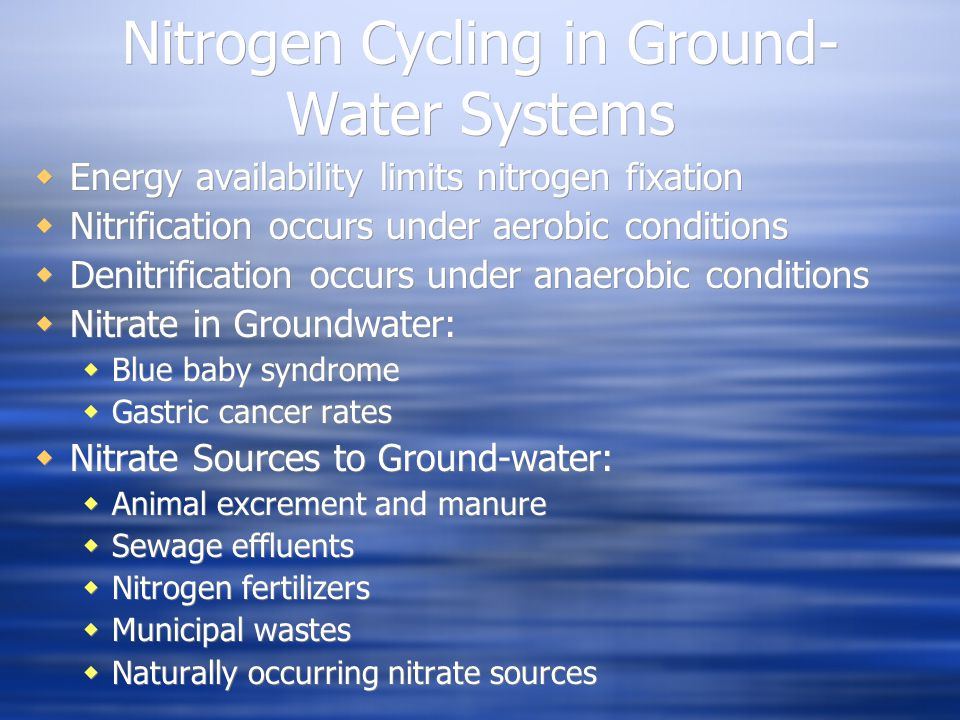 Nitrogen Cycling in Ground- Water Systems  Energy availability limits nitrogen fixation  Nitrification occurs under aerobic conditions  Denitrifica