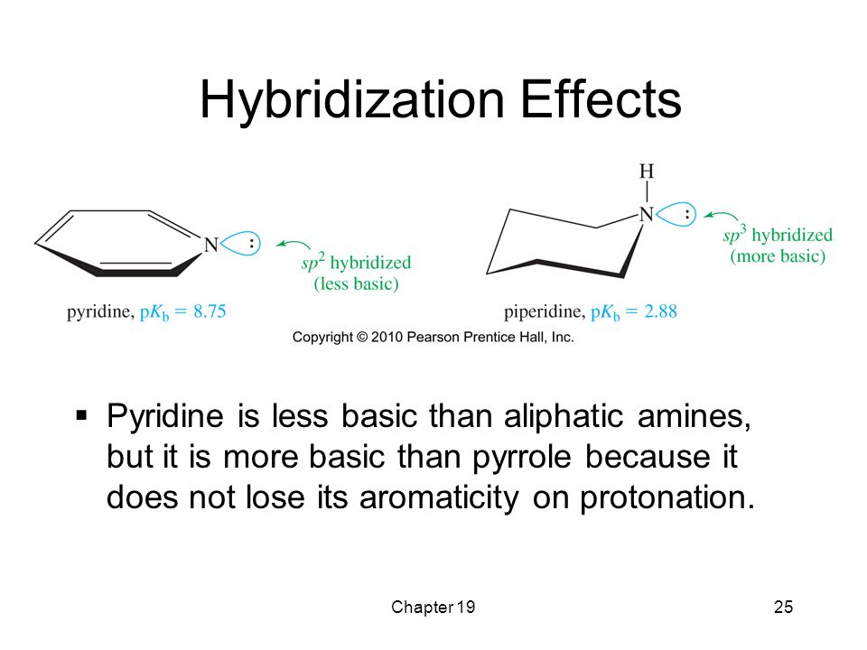 Chapter 1925 Hybridization Effects  Pyridine is less basic than aliphatic amines, but it is more basic than pyrrole because it does not lose its arom